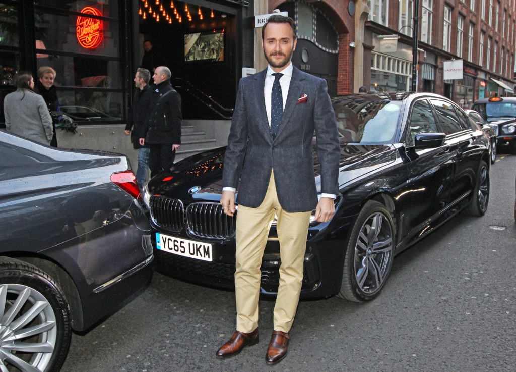Jason Atherton, newly named best restaurateur arrives in the luxury BMW 7 Series at the GQ Food and Drink Awards